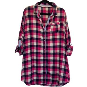 Tommy Hilfiger Large Pink White Navy Plaid Flannel